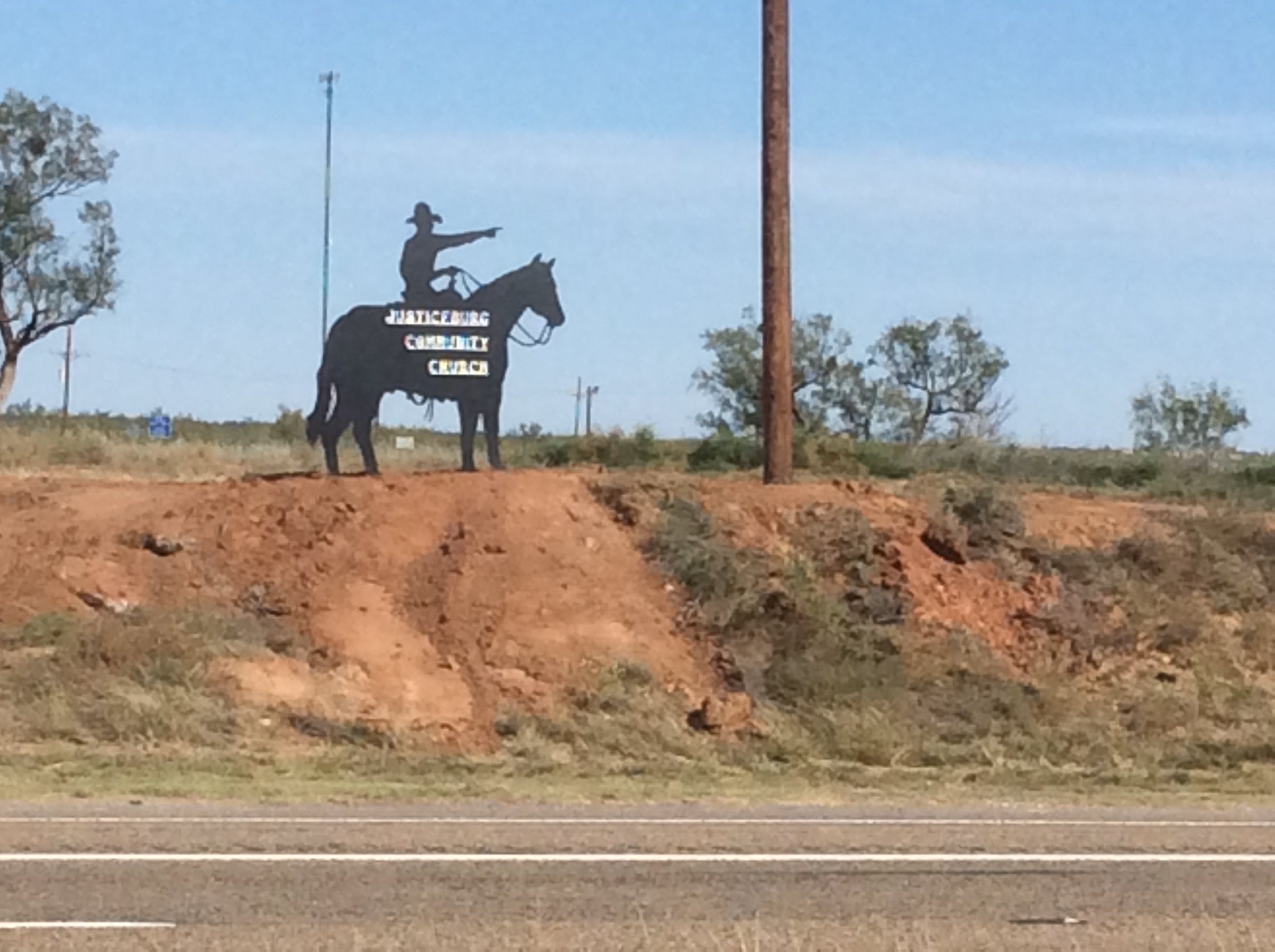 The silhouette is at a new locations. An Angel moved it to East of FM 2458 & US 84!