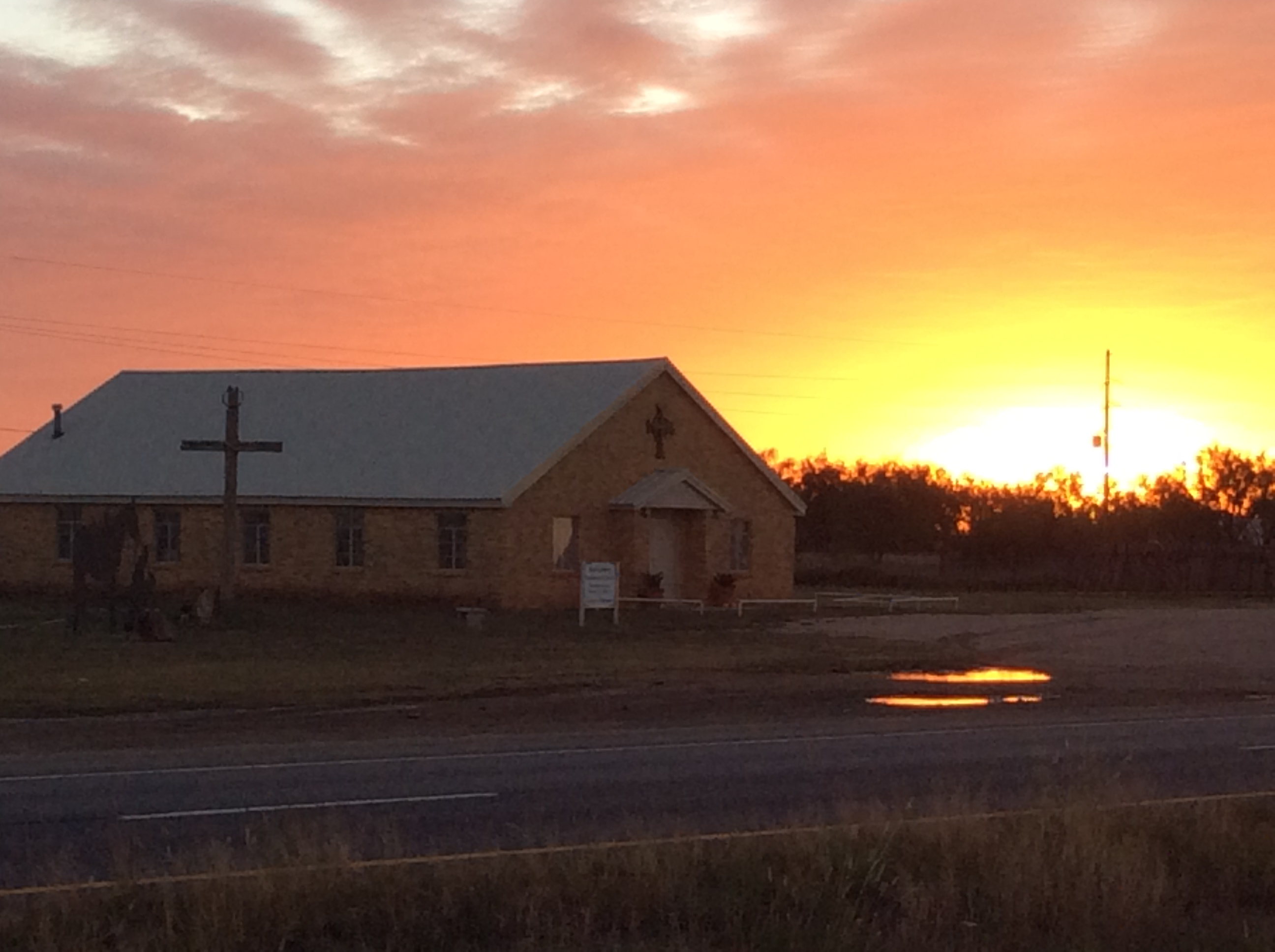 Sunrise at Justiceburg Community Church on 11-08-2014.
