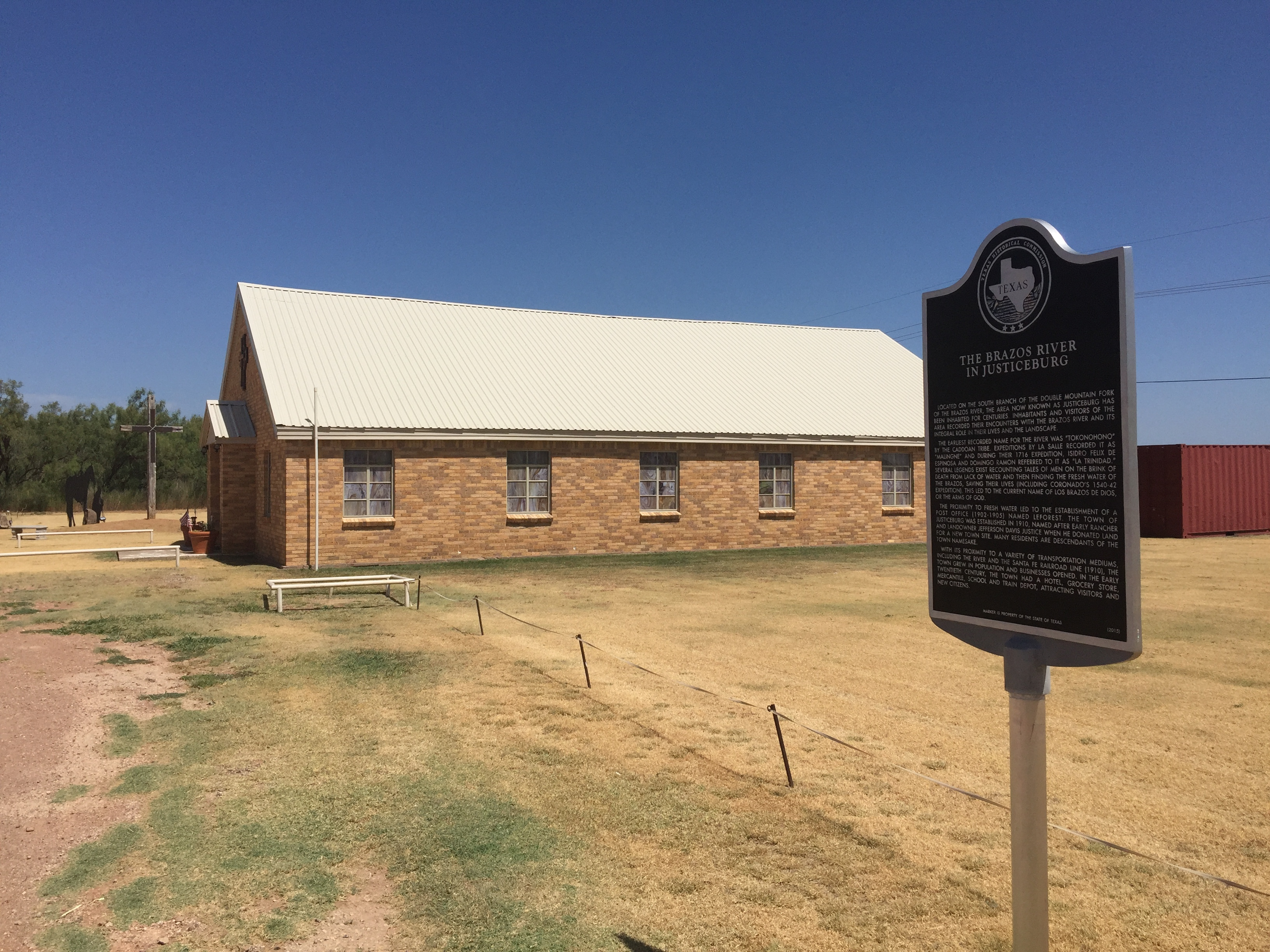 "The Marker is close to the church and the bridge that goes over ""The south fork of the double mountain fork of the Brazos"""